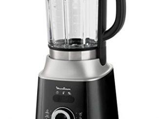 Moulinex Lm962b10 Blender Chauffant Ultrablend Cook Mixeur Électrique Bol Verre Capacité 2l Soupe Coulis Compote Lait Végétal Smoothie Glace Pilée 10 Vitesses Pulse 1300w Gris Et Noir