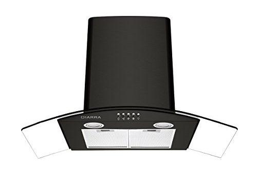 Ciarra Hotte Aspirante Murale 90cm 550 M³/h Evacuation & Recyclage 3 Vitesses Ventilateur Extracteur Inox Noir Filtre à Charbon Cbcf004