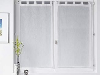Douceur D'intérieur Paire Droite Passants 2x60x120cm Voile Sable Fils Argent Lorenza