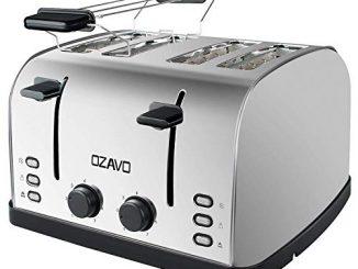 Ozavo Grille Pain 4 Fentes, Toaster Multifonction Extra Larges Avec Controle De Temperature Et Plateau De Miettes Amovible, Acier Inoxydable, 1250 1500w, Sans Bpa, Argent