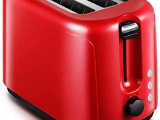 Renxr 750w Mini Grille Pain à 2 Tranches Petit Déjeuner Machine Toasters Extra Larges Machines à Sous Dégivrer Réchauffer 6 Modes De Contrôle Browning Rouge