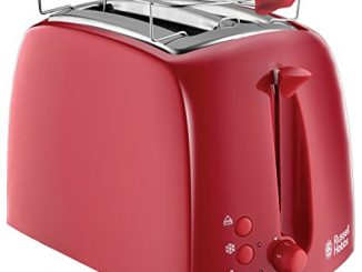 Russell Hobbs 21642 56 Toaster Grille Pain Texture Fentes Larges Rouge