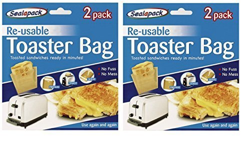 4 Pack Reusable Toaster Toastie Sandwich Toast Bags Pockets Toasty Toastabags By Sealapack