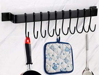 Btsky Support Mural Pour Casseroles Avec 10 Crochets Ustensiles De Cuisine, Tringle à Suspendre, Organiseur De Couvercle, Porte Serviettes, Couvercle, Noir