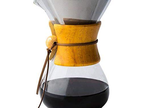 Comfify Cafetière Pour Over Avec Carafe En Verre Borosilicate Et Filtre En Acier Inoxydable Réutilisable Café Filtre Manuel 450ml Avec Poignée En Bois Véritable
