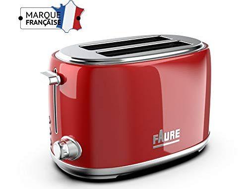Faure Ft2s 8141 Grille Pain Design Vintage 810w Puissance Réglable Ejection Haute 2 Larges Fentes Coloris Rouge