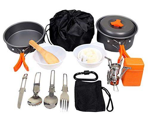 Goetland 12 Pcs Ustensiles De Cuisine De Camping Set De Cuisson Antiadhésive Aluminium Anodisé Casseroles Pliantes Pique Nique Bbq Randonnée