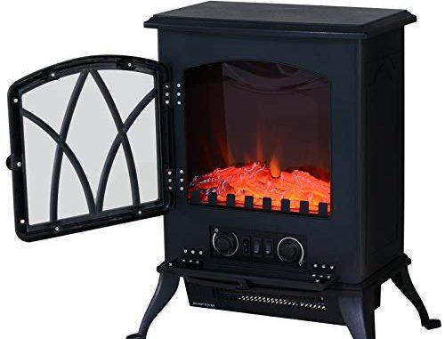 Homcom Cheminée électrique Poêle Style Rétro Thermostat 1000 2000 W Noir