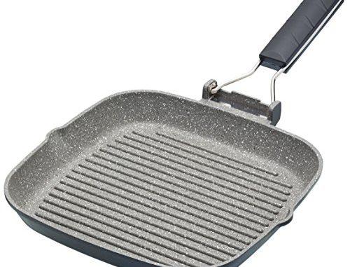 Kitchencraft Masterclass Anti Adhésif Induction Poêle Grill Avec Poignée Pliable, 20cm (20,3cm) noir, Aluminium, Noir, 20 Cm
