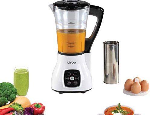 Livoo Dop140w Blender Chauffant Multifonction | 6 Programmes Prédéfinis Smoothies, Soupes, Sauces, Cuisson Vapeur Etc |couteau 4 Lames, 15 000 U/min | Capacité 1,7l, 1.7 Liters, Blanc
