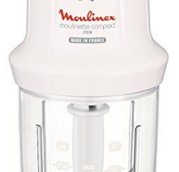 Moulinex Dj300110 Mini Hachoir Electrique Moulinette Compact Avec Couvercle Saupoudreur Blanc 270 W
