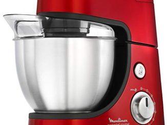 Moulinex Qa502gb1 Robot Pâtissier Masterchef Gourmet Kit Pâtisserie Pétrin Malaxeur Fouet Bol Blender Râper Émincer 900w Cuisine Rouge