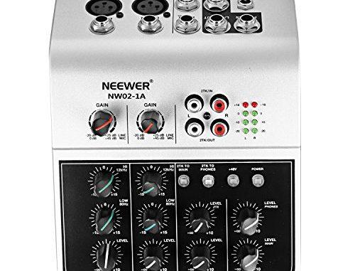 Neewer Nw02 1a Console De Mixage Économique à 4 Canaux Pour Micro à Condensateur, Mélangeur Audio Compact Avec Alimentation Phantom 48v Égaliseur 2 Bandes Eq Entrée Ligne Stéréo 2 Voies Rca