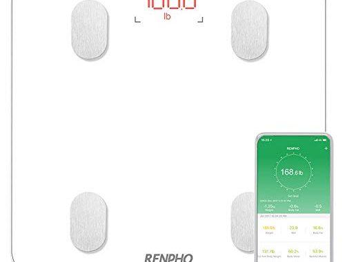 Pèse Personne Impédancemètre, Renpho Balance Connecté, Pèse Personne Bluetooth, Impedancemetre Avec 13 Données Corporelles (bmi/muscle/eau/graisse Corporelle/masse Osseuse), Ecran Rétroéclairé, Blanc