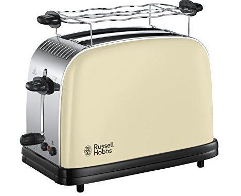 Russell Hobbs Grille Pain Extra Large, Toaster Colours Plus, Technologie Cuisson Rapide Uniforme, Contrôle Brunissage, Chauffe Viennoiserie Inclus Crème 23334 56