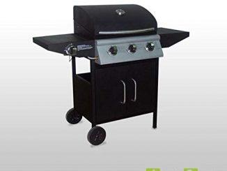 Alice's Garden Barbecue Gaz Athos Barbecue 3 Brûleurs + 1 Feu Latéral Noir, Grilles En Fonte