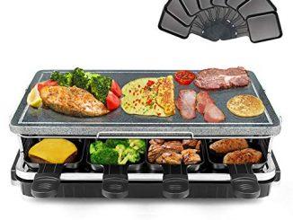 Appareil à Raclette Et à Pierre Naturelle Thermostat Réglable Spatules En Bois Et Poêlons Antiadhésifs 8 Personnes 1300 W