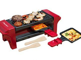 Bestron Mini Gril Raclette, Pour 1 à 2 Personnes, Revêtement Anti Adhésif, 350 W, Rouge/noir