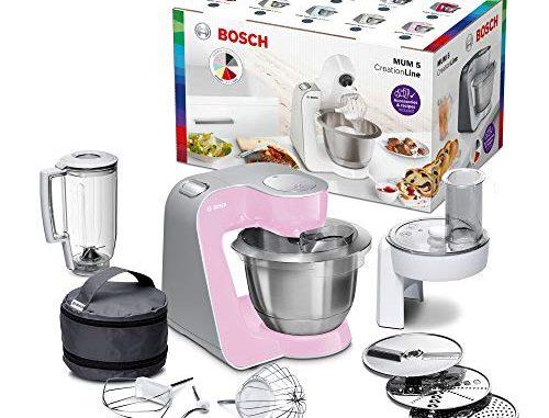 Bosch Mum58k20 Robot Culinaire Creationline (1000 W, 3, 9 L, Bol à Mélanger En Acier Inoxydable, Déchiqueteur Continu, Accessoire De Mixeur), Rose Argenté (rose)
