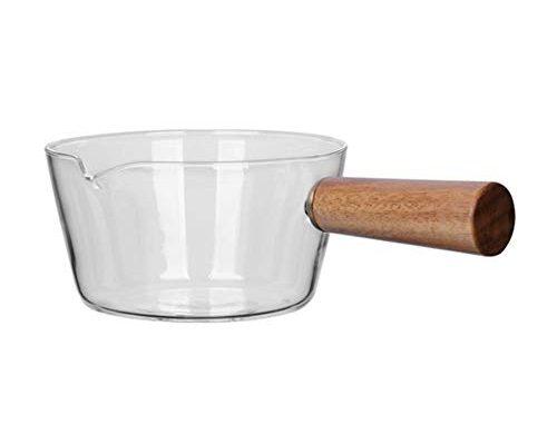 Casserole à Lait En Verre Borosilicate Pot à Aliments Pour Bébés, 400 Ml / 600 Ml, Bol à Salade De Fruits Transparent Avec Poignées En Bois