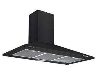 Ciarra Hotte De Cuisine Noire De 90cm Avec Cheminée Et Ventilateur D'extraction