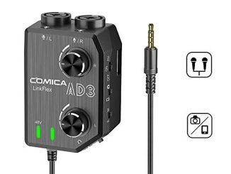 Comica Linkflex Ad3 Audio Préampli/mixeur 2 Canaux Xlr/interface 3.5mm / 6.35mm 3.5mm, Alimentation Fantôme 48v Et Moniteur En Temps Réel, Appareil Photo Universel Sony Nikon Sony Slr Et Smartphone