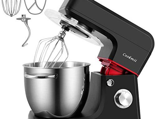 Cookmii 1800w Professionnel Robot Pâtissier Petrin Haut Puissance Robot Cuisine Multifonctions Pratique Vitesse De 6 Avec Bol 6,5l, Batteurs, Fouet & Crochet Noir