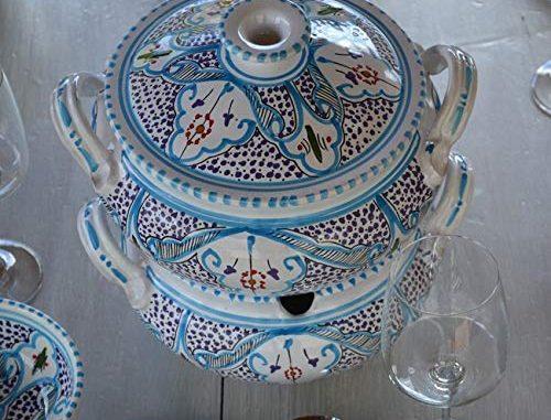Couscoussier Marocain Turquoise Grand Modèle