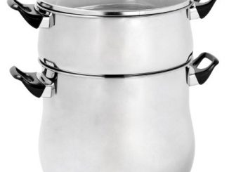 Crealys 504940 Couscoussier En Inox 12 L Poignée Bakélite Noir Diamètre : 24 Cm