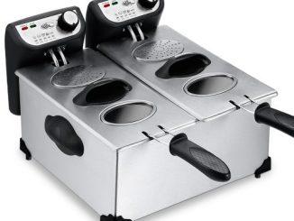 Deuba Friteuse électrique 2x3 Litres 2200 Watt Cuve Amovible Acier Inoxydable Zones Froides Complètement Démontable Contrôle De La Température
