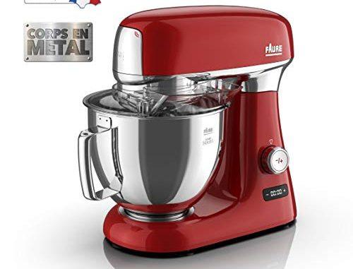 Faure Fkm 104ms1 Robot Pâtissier Magic Baker Series 1000w Mouvement Planétaire 8 Vitesses Bol Inox 4,8l Coloris Rouge