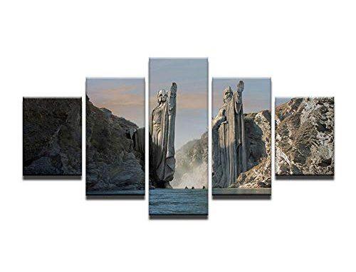 Fbhfbh Affiche Art Toile Peinture 5 Panneau Statues En Seigneur Des Anneaux Modulaire Image Mur Pour Le Salon Hd Imprimer Cadre