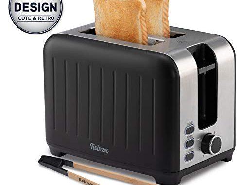 Grille Pain Large Fente 3 In 1 Noir Mat En Inox, Toaster Rétro Pince En Bambou Gratuite 7 Niveaux De Brunissage 850w Chauffe Petit Pain Et Ramasse Miette