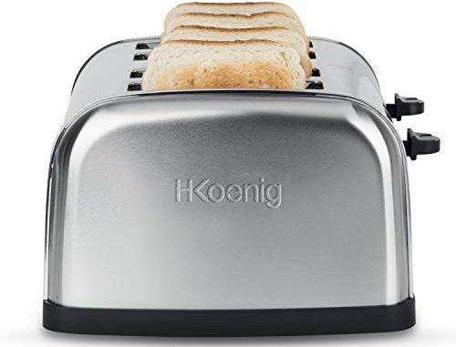 H.koenig Grille Pain Toaster 4 Tranches Tos14 Fentes Larges Inox Vintage, 6 Niveaux De Brunissage, Décongélation, Rapide Et Uniforme, Pain Et Viennoiserie, Nettoyage Facile, 1500 W