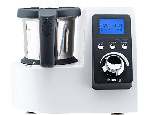 H.koenig Robot Culinaire Chauffant Hkm1032 2.5l Inox Multifonctions 1300w, Professionnel, Facile D'utilisation, Menus Pré Programmés, Fonction Turbo, Température Réglable Avec Système Easy Pad Control