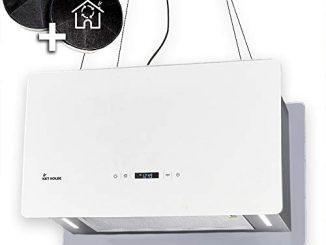Hotte Aspirante Design, Hotte Décorative îlot (60cm, Inox, Verre Blanc, Extra Silencieux, 674m³/h, 4 Marches, éclairage Led, Touches Sensitives Touchselect, Montage Câble) Cube60w Kkt Kolbe