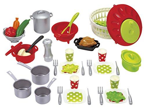 Jouets Ecoiffier 2621 Set De Cuisine Pour Enfants 100 % Chef Viande, Légumes Et Ustensiles De Cuisine 47 Pièces Dès 18 Mois Fabriqué En France
