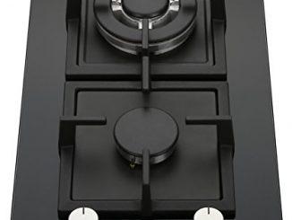 K&h Domino 2x Brûleurs Table De Cuisson Gaz En Verre Trempé 30cm Wok 2z Khgw