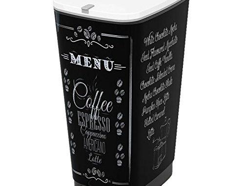 Kis 8071900 1790 01 Poubelle Chic Coffee Menu 45 Litres, Plastique, Multicolore, 29x44,5x60,5 Cm