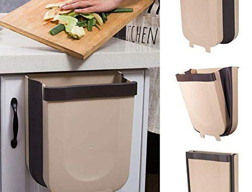 Kitchen Poubelle Pliable Wall Mounted Portable Petite Poubelle, Design Suspendu, Attaché À L'armoire Porte Cuisine Tiroir Chambre Dortoir Poubelle, Pour Voiture Bureau à Domicile 9l (marron)
