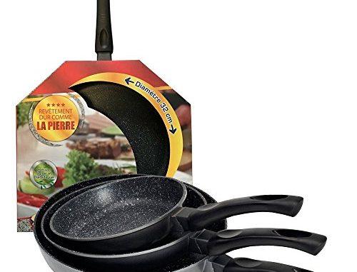 Kitchen Pro Lot De 4 Poêles En Pierre Tous Feux Dont Induction Diamètre 20/24/28/32 Cm + 4 Disques Anti Rayures