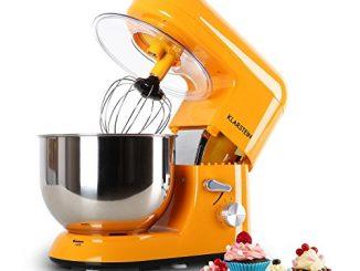 Klarstein Bella Orangina Robot De Cuisine, Mélangeur, Pétrin, Max. 1200 W, Vitesse Réglable à 6 Niveaux, 5,2 L, Système De Malaxation D'agitation Planétaire, Serrage Rapide, Orange