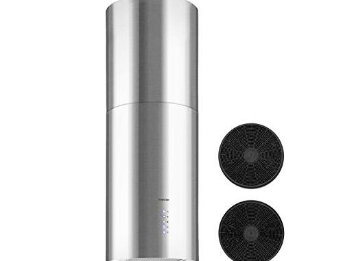 Klarstein Beretta Hotte Aspirante, 3 Niveaux De Puissance, 650m³/h, Inox Poli, 35cm De Diamètre, Installation Flottante, Filtre Graisse, Filtre Charbon Actif, Argent