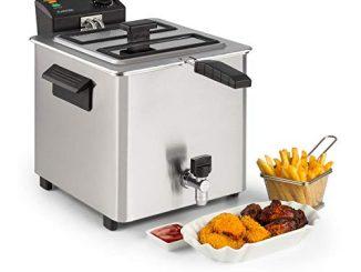 Klarstein Family Fry Friteuse, 3000w, 8 Litres, Thermostat Réglable En Continu, Oil Drain Technologie, Zone De Refroidissement, Boîtier Cool Touch, Inox, Argent