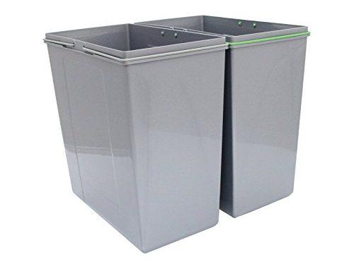 Kukoo Poubelles Coulissantes Encastrables De 90l Pour Cuisine, Poubelles De Recyclage à Deux Bacs. 49,5cm(h) X 56,5cm(l) X 48,4cm(p)