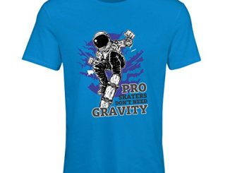 Lepni.me T Shirt Femme Pro Skaters Don't Need Gravity Skateboard Sprüche, Skate Leben Zitate (medium Bleu Multicolore)