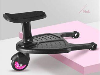 Manyo Marche Pied Pour Poussette, Mini Buggy Board Roue à 360 ° Planche Poussette Pédale Pliable (rose)