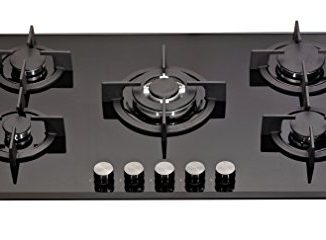 Millar Gh9051pb Plaque De Cuisson En Verre Trempé Avec 5 Brûleurs à Gaz Noir 90 Cm/table De Cuisson