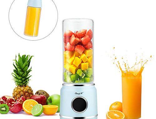 Mixeur électrique, Pour Fruits Et Smoothies, Mixeur Portable, Mixeur De Table, Mixeur En Verre, 6 Lames En Acier Inoxydable, 420 Ml, Usb
