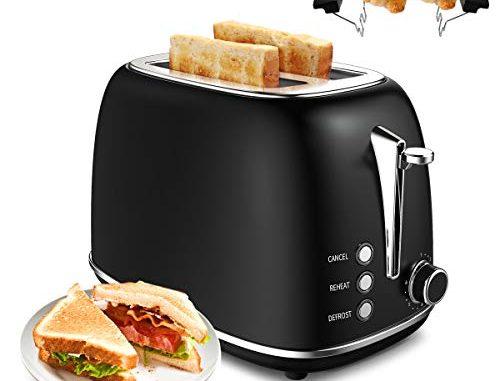 Morpilot Toaster Grille Pain Rétro 2 Fentes Acier Inoxydable,6 Niveaux Réglables,3 En 1 De Fonctions De Grille Pain,décongeler,réchauffer,815w Rapide Fonction
